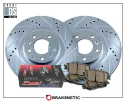 BRAKENETIC PREMIUM Drilled Slotted Brake Disc Rotors BPRS34016 FRONT + REAR