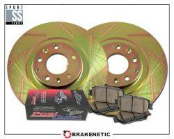 BRAKENETIC PREMIUM Drilled Slotted Brake Disc Rotors BNP40048.DS FRONT SET